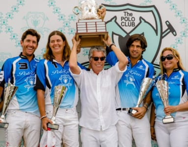 Nic Roldan, Gillian Johnston, Neil Hirsch, Nacho Figueras, Melissa Ganzi take the trophy at Great Futures Polo Day.