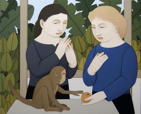 Andrew Stevovich Two Women Feeding a Monkey