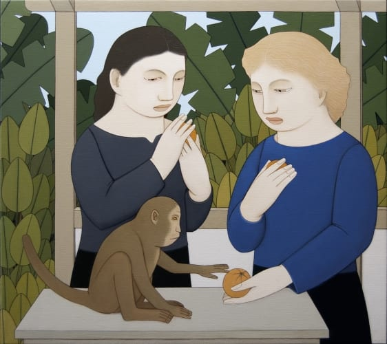 Andrew Stevovich Two Women Feeding a Monkey